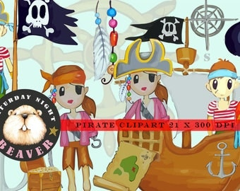 Pirate Clipart,Hand Drawn,Boy Pirate,Girl Pirate,Pirate Ship,Map,Treasure Chest,Feather,Pirate Hat,Skull & Bones,Flag,Saturday Night Beaver