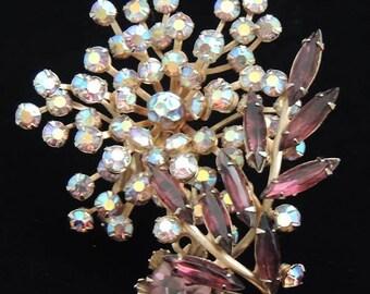 Amber Rhinestone Floral Brooch, Aurora Borealis Floral Brooch, Vintage Austrian Crystal Brooch, Amber Rhinestone Brooch, Retro Floral Brooch