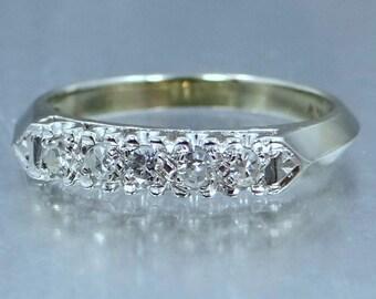 1940's 14k White Gold Diamond Stacking Ring Wedding Band