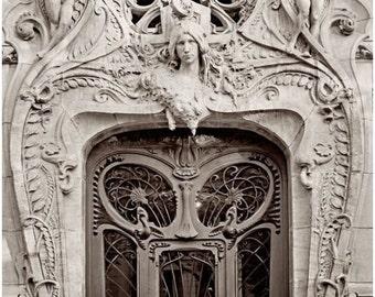 Paris Photography, Art Nouveau Facade, Sepia Tone Print, Wrapped Canvas, Paris Door Architecture