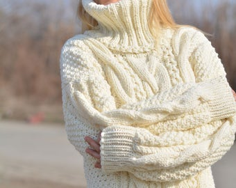 READY handmade wool sweater hand knitted wool jumper thick Unisex Tneck sweater cable pullover chunky wool soft merino ski sweater Dukyana