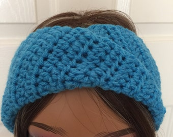 Twist Headband, Free Shipping, Wide Blue Earwarmer, Twist ear warmer, Twist Style Headband, winter Headband,   Headwrap