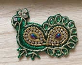 Handmade Green Indian Peacock Applique 80mm