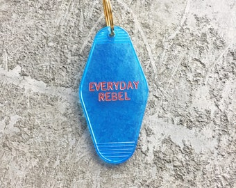 Everyday Rebel Hotel Key Chain in Translucent Blue and Red Key Tag Key Fob Motel Key