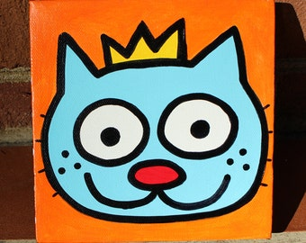 Kitty King Minipop 6x6 Painting by Jelene