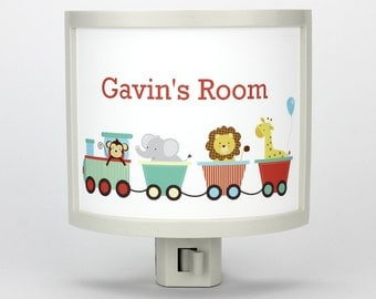 Personalized Zoo Train customizable night light childrens nightlights nursery jungle kid room nightlight gift for baby shower gifts under 25