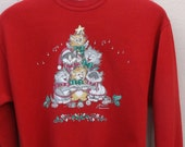Vintage 80s to 90s Kitty Cat Holiday Christmas Xmas Party Sweatshirt / Red w/ Singing Cats