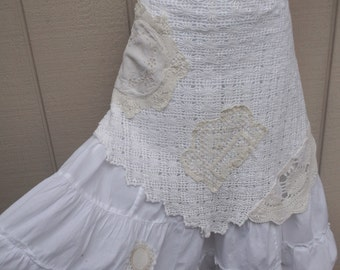 Romantic Altered Couture Vintage Lace Apron Tiered Skirt / Shabby Chic, Boho Gypsy, Lagenlook Style / Boho Hippie // Size Med - Lge - XL