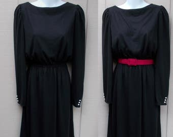 70s Vintage Black Stretch Knit Secretary Dress // Size Sml to Med