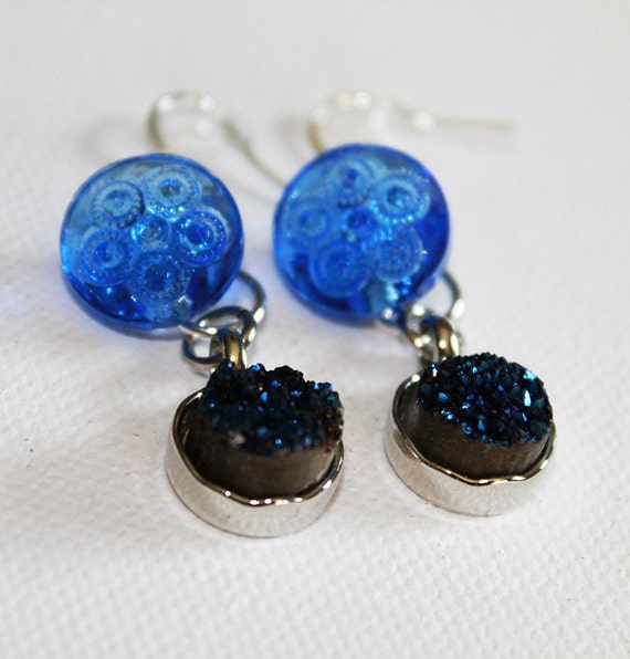 Vintage Cobalt Blue Glass Button & Quartz Earrings - Boho Chic - Dangle Dearrings - OOAK