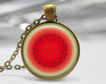 Watermelon Art Pendant, Watermelon Pendant, Watermelon Jewelry, Watermelon Slice Pendant, Bronze, Silver, Melon Pendant, Fruit Jewelry 444