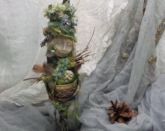 Spring Goddess, Mothers day gift, New mom, Bridal Shower gift, Goddess of Creativity, ooak Art Doll,  Eater Assemblage.
