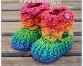 Crocodile Stitch Baby Booties That Stay On / Baby Slippers / Baby Booties / New Baby Gift / rainbow / 0-6 / merino wool / baby slippers