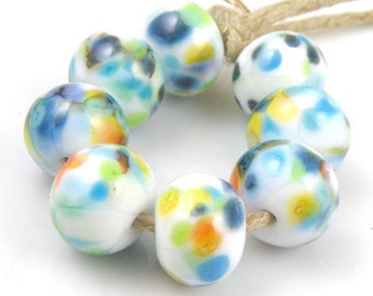 Playground - Handmade Artisan Lampwork Glass Beads 8mmx12mm - Multicolour on White - SRA (Set of 8 Beads)