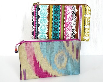 Pair of Pouches - Set of 2 Small Zipper Pouches, Zip Coin Purses, Fabric Zip Bags in Bright Pink, Aqua and Cream