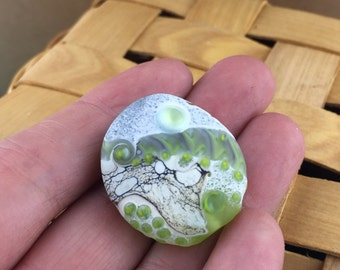 Water Spirit Stone Series etched lampwork glass focal bead