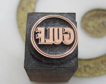 Vintage Letterpress Printers Block Gulf Oil Logo
