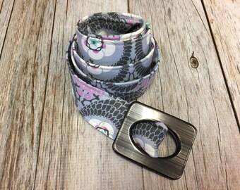 Women's Fabric Belt -Lavender with Violet Twist Print