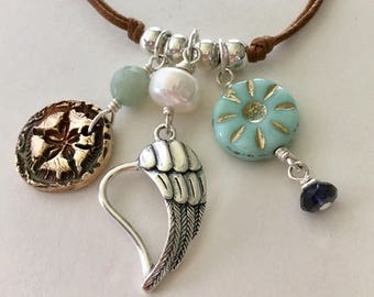 Boho Beach Angel Wing Chime Necklace Sterling Silver And Bronze