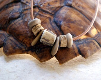 Antler, Crinoid Stem and Beach Stone Necklace -  Beach Pebble Necklace - Antler Necklace - Fossil Necklace - bohemian jewelry - boho chic