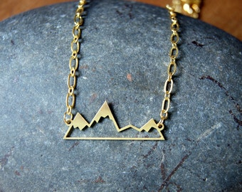 Mountain Range Necklace - Mountain Necklace - Gold Plated Mountain Range Necklace - Mountain Peak Necklace - Wanderlust Travel Nature Lover