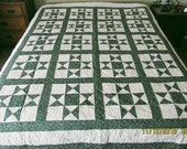 Greens Patchwork Stars Quilt,Coverlet,Bedspread 72x86,Full Sz,Queen