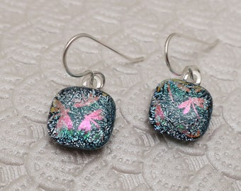 Silver pink dragonfly dichroic glass earrings sterling silver ear wires Fused Glass jewelry fused glass earrings dangle transparent earrings
