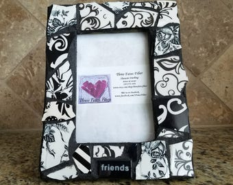 mosaic picture frame - black and white china picture frame - 4 x 6 picture frame - recycled dishes - friends