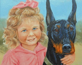 Custom Portrait Painting Person and Dog