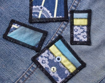 Patch set - 4 piece denim, lace and buttons patchwork sew-on patches SET for jeans and jackets | Denim patches | Yellow ribbon