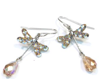 Dragonfly Earrings Light Colorado Topaz Crystals