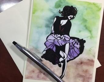 Just Dance Original Watercolor Print - Note Card