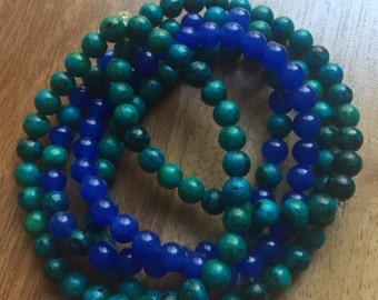 Gorgeous Stack of 5 Jasper and Aventurine Bracelets