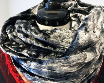 Infinity Scarf - Gray Black and Silver velvet