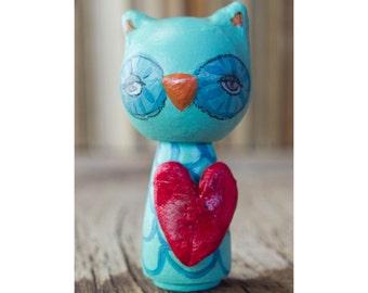 The Owl of Love: A handmade wooden kokeshi art art doll miniature woodland sculpture by Danita Art