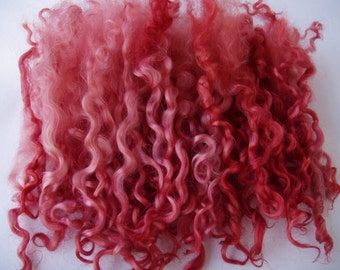 0.7oz, Wensleydale locks, curls, spinning fiber, felting wool, nuno/wet/needle felting fiber, dolls hair, victorian, pink, rosewood, 20g