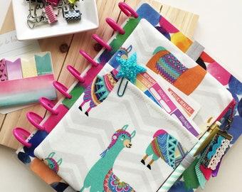 Llama print planner bag - cute planner pouch - Pocket Planner Pouch - Llama planner cover - Colorful Planner Accessories - Ribbon tassel