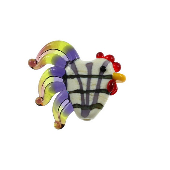 Plaid Rooster - Glass Lampwork Chicken Bead