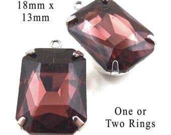 Garnet Glass Beads, Octagon, Silver or Brass Settings, 18mm x 13mm, Rhinestone, Orissa, Burgundy, Glass Gems, Cabochon, One Pair