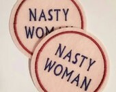 Two nasty woman iron on patch appliques embroidered with pink felt and navy blue thread, politics, feminist patches, election