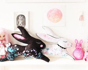 Bunny cushion softie plush floral - throw pillow - rabbit hare illustrated homewares nursery decor illustration