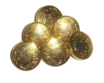 Gold Plated Metal Shield Buttons - Lot of 6 - Overstock