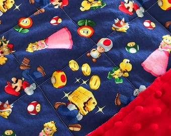 Weighted Blanket - Adult or Child - Nintendo Mario - Choose your weight (up to 14 lbs) and minky color