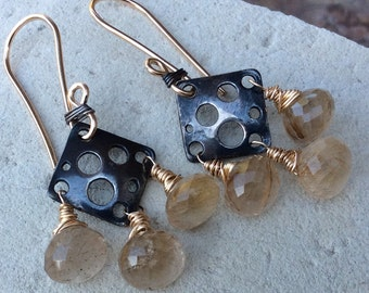 RUTILATED Quartz earrings, mixed metal chandelier earrings, handmade jewelry, handmade
