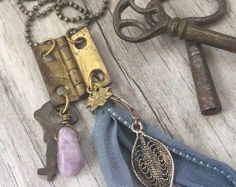 REPURPOSED HINGE Necklace with KEY, Lotus, Leaf charms and Purple Fluorite Gemstone