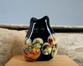 Handmade Lampwork Floral Cat Bead Focal - Shelby FatCat