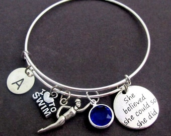 Swimming Bracelet,Swimming Expandable Bangle,Swimmers Jewelry,She Believed She Could, Swimming lover bracelet,Sports Gift, Free Shipping USA