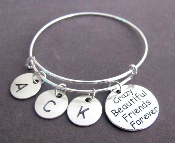 Crazy Beautiful Friends Forever Bangle Bracelet,Best Friend Bracelet, Best Friends Forever, Bff jewelry,Friendship Bond,Free Shipping In USA