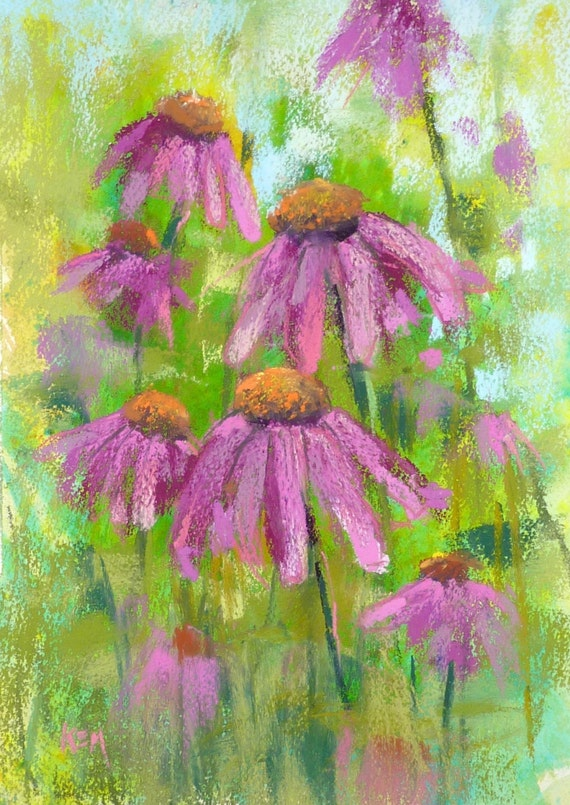 Summer Landscape Purple Coneflowers  Original Pastel Painting Karen Margulis