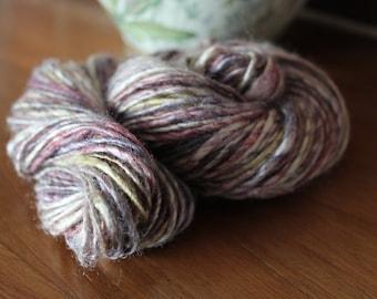 Handspun pure silk yarn, tussah silk, hand dyed - grape